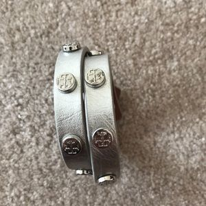 Tory Burch silver leather double wrap